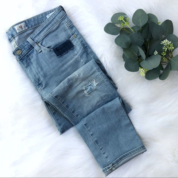 Ag Adriano Goldschmied Denim - AG The Stilt Cigarette Leg patch work jeans